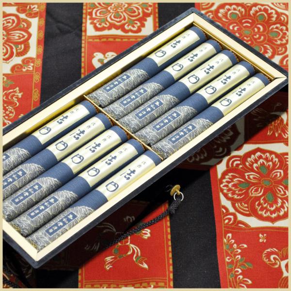 沈香 法円 短寸10把入 進物用黒塗り紐付き桐箱入