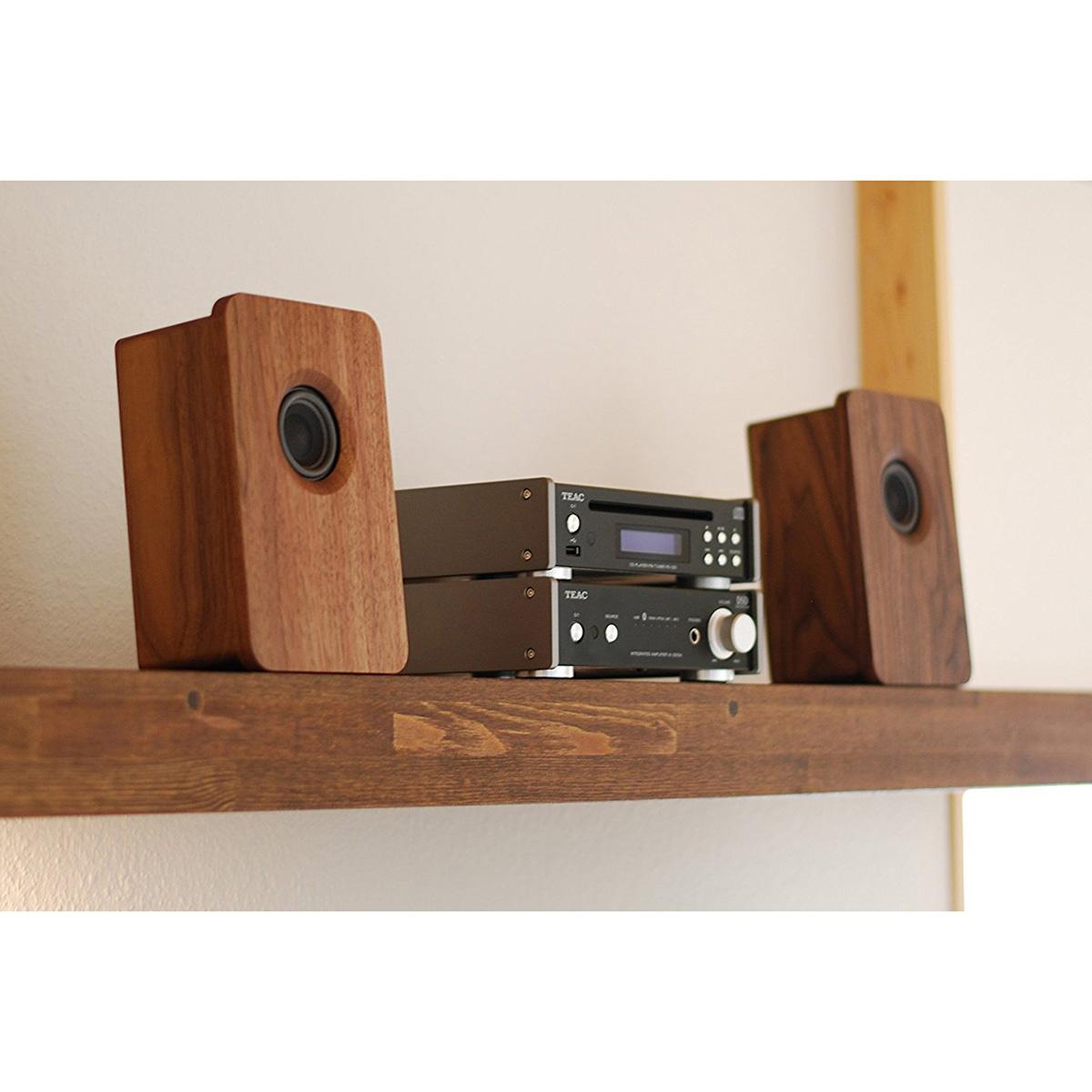 宗七音響 model 216 デスクトップパッシブスピーカー(ウォルナット)+TEAC製アンプ(AI-301DA-SP-B・ブラック)+TEAC製ワイドFMチューナー搭載CDプレーヤー(PD-301-B・ブラック)セット