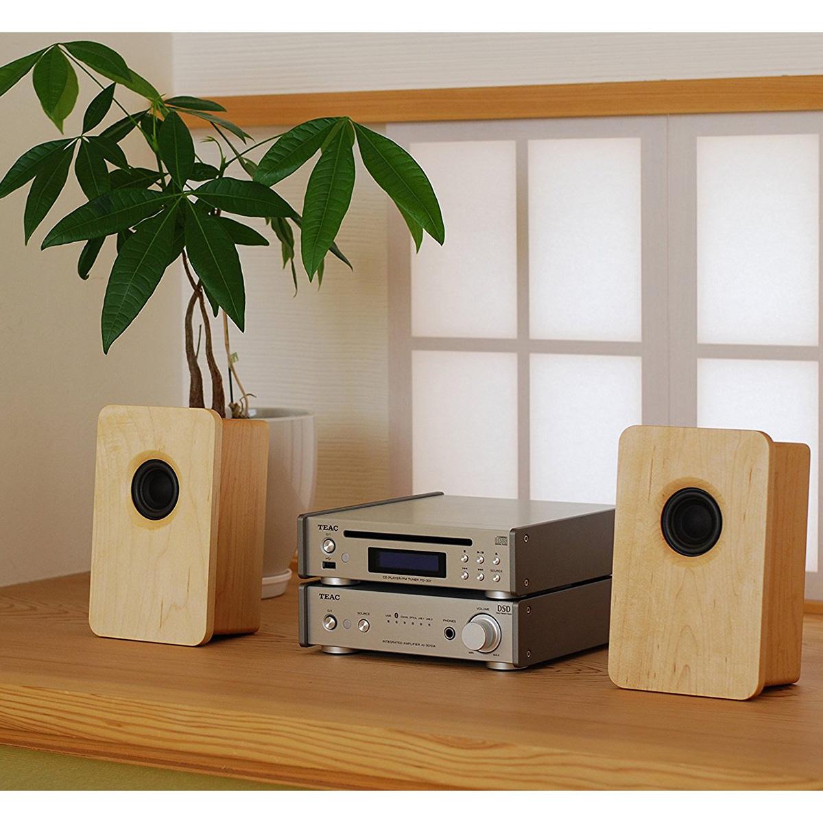 宗七音響 model 216 デスクトップパッシブスピーカー(メープル)+TEAC製アンプ(AI-301DA-SP-S・シルバー)+TEAC製ワイドFMチューナー搭載CDプレーヤー(PD-301-S・シルバー)セット