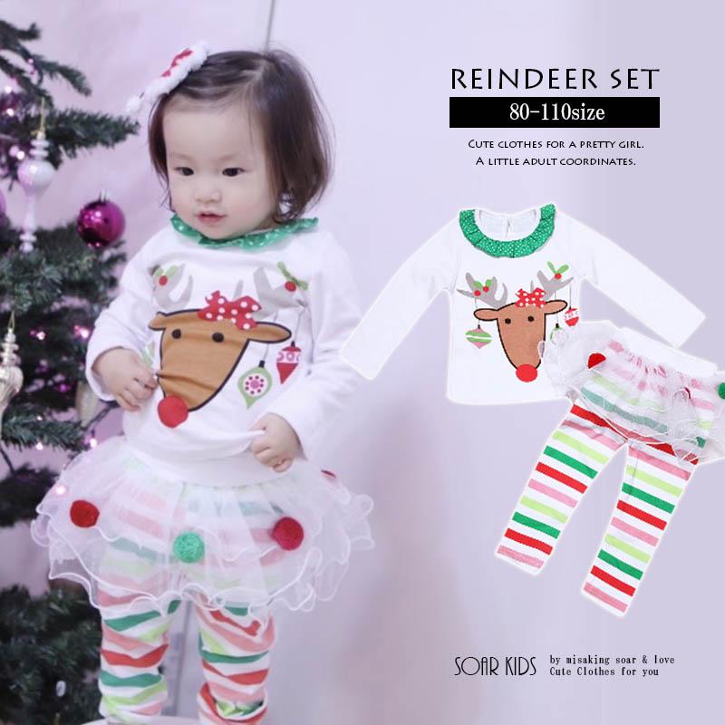 クリスマスに女の子におススメです アウトレット NEW ARRIVAL 送料無料 トナカイセットアップ 海外子供服 女の子 soar ベビー クリスマス 冬 衣装