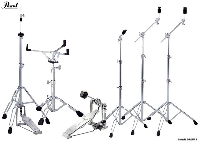 ドラムセット用スタンド・ハードウェアセット (キックペダル・シンバルスタンド3本・スネアスタンド・ハイハットスタンド)Pearl/ パール