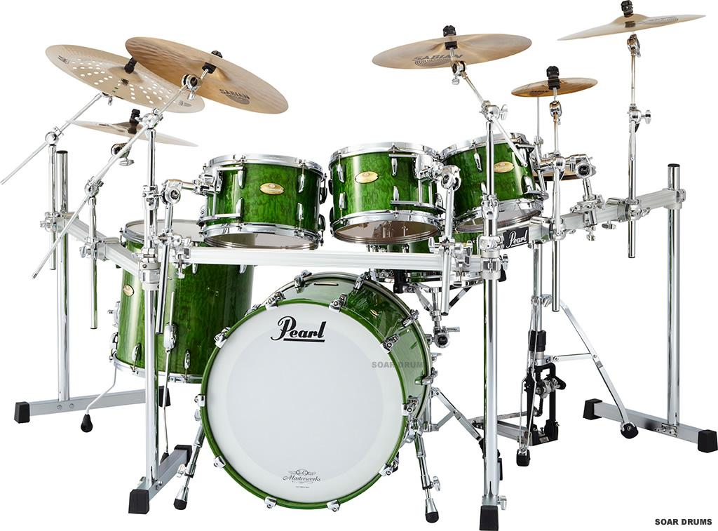 【スネア付属・6点セット】Masterworks Green Tamo(タモ) / Pearl パール ドラムセット