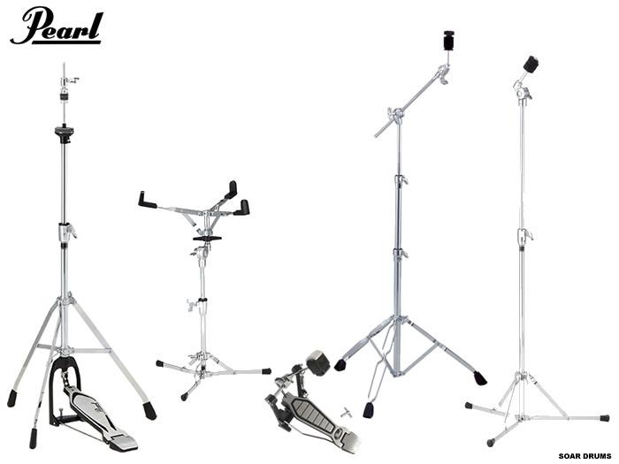 【特価!】ドラムセット用スタンド・ハードウェアセット (キックペダル・シンバルスタンド・スネアスタンド・ハイハットスタンド)Pearl/ パール