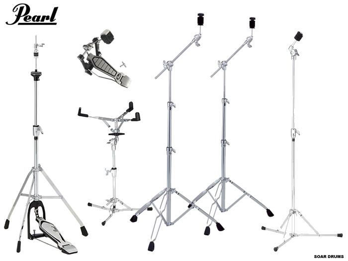 【シンバルスタンド3本を含んでこの価格!】ドラムセット用スタンド・ハードウェアセット (キックペダル・シンバルスタンド3本・スネアスタンド・ハイハットスタンド)Pearl/ パール
