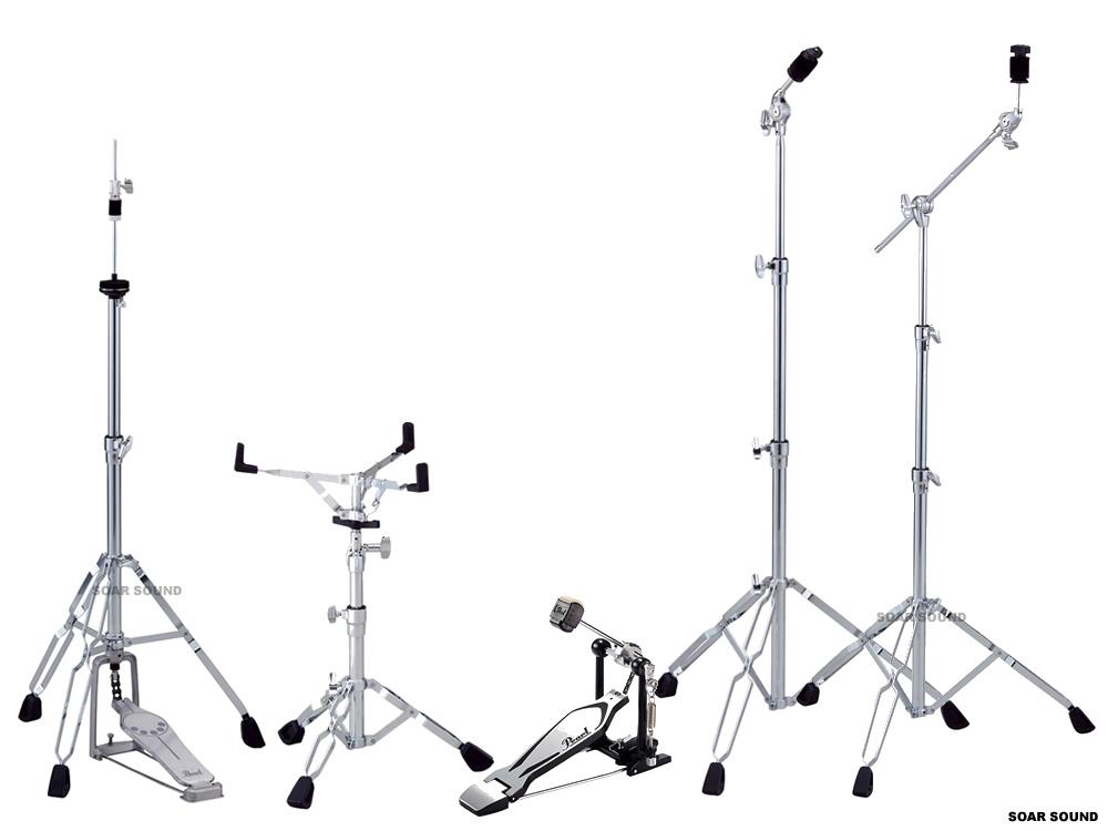Pearl/ パール ドラムセット用スタンド・ハードウェアセット (キックペダル・シンバルスタンド2本・スネアスタンド・ハイハットスタンド)