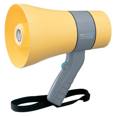 UNIPEX ユニペックス ホイッスル付 6W出力 防滴 メガホン 拡声器 TR-215WA 野外対応 軽量 小型 電池式 電池駆動 防水(防滴)設計