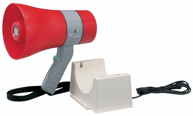 【充電式】 防災 非常時対応 UNIPEX ユニペックス サイレン付 6W出力 防滴 メガホン 拡声器 TR-215CS 野外対応 軽量 小型 充電池式 防水(防滴)設計 災害時対応