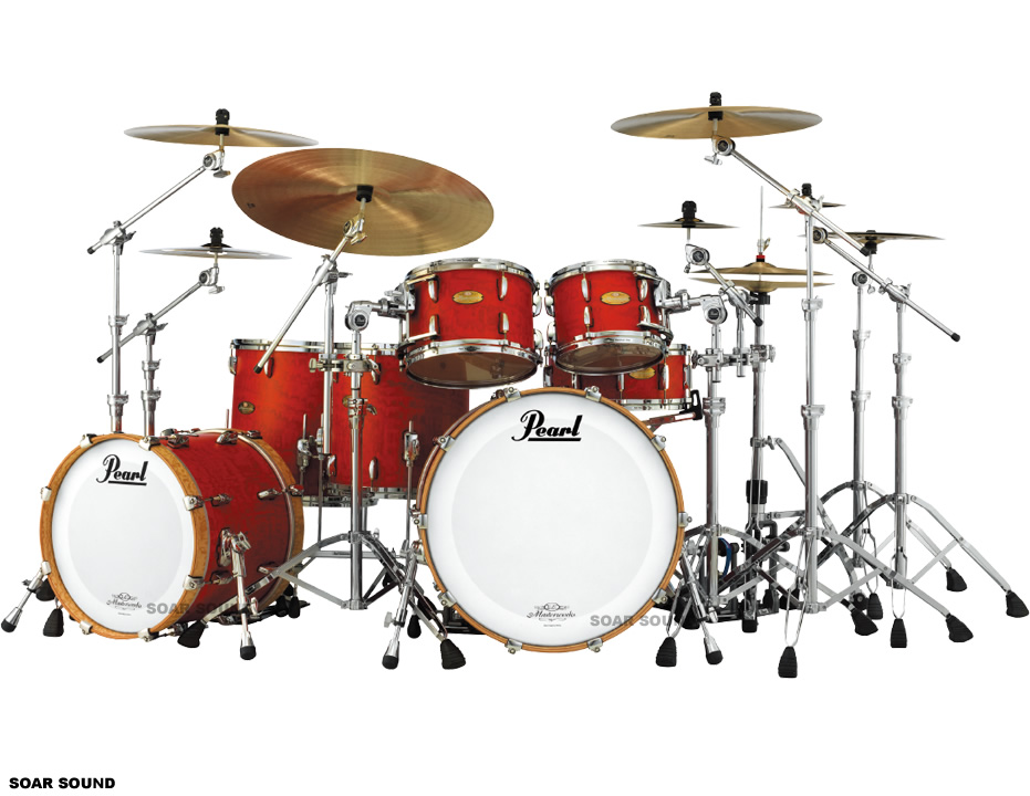 Pearl パール ドラムセット MASTER WORKS マスターワークス STUDIO シェルセット Red Satin Over Tamo w/Bass Drums: Natural Hoops