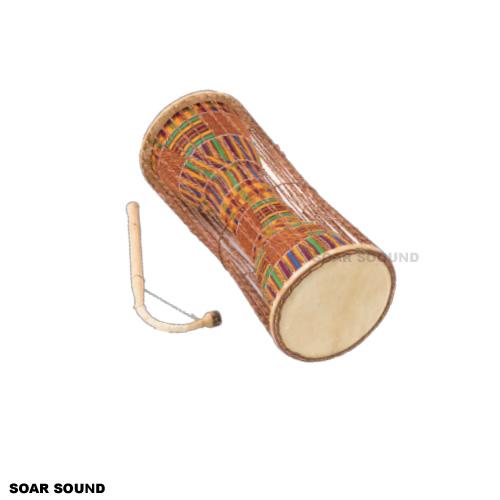 ガーナ製 トーキングドラム アフリカンドラム AS-TDLKE by サウンドキング 直径20×全長50cm 民族楽器 打楽器 太鼓
