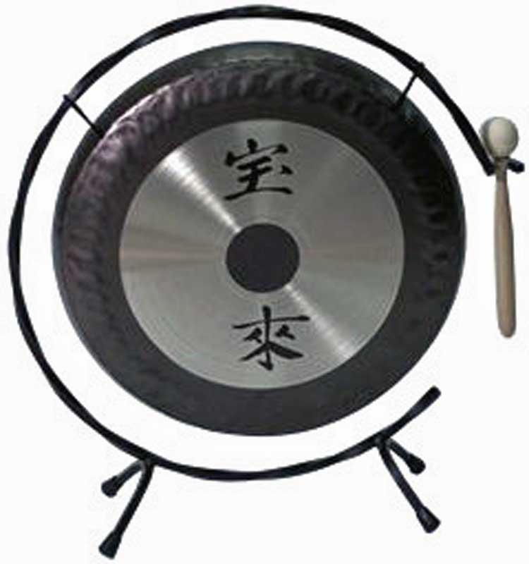 宝来 シルバー ミニゴング 12インチ(30cm)ミニ銅鑼(ドラ)スタンド マレット付き GDX-12 卓上サイズ