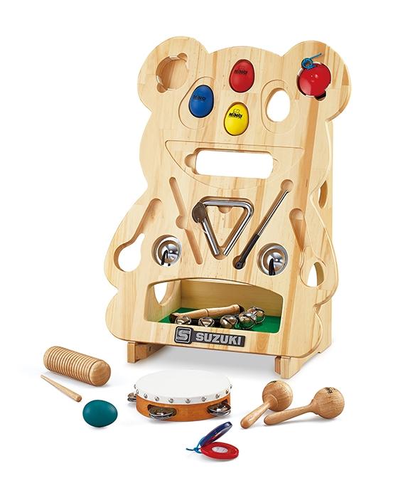 SUZUKI 幼稚園や保育園、保育スペースなどに! 打楽器セット なかよしリズムパンダ 知育楽器 NYR-03 教育楽器 楽器 おもちゃ 玩具 キッズ 子供 こども 幼児 用 卒園記念や寄贈にも