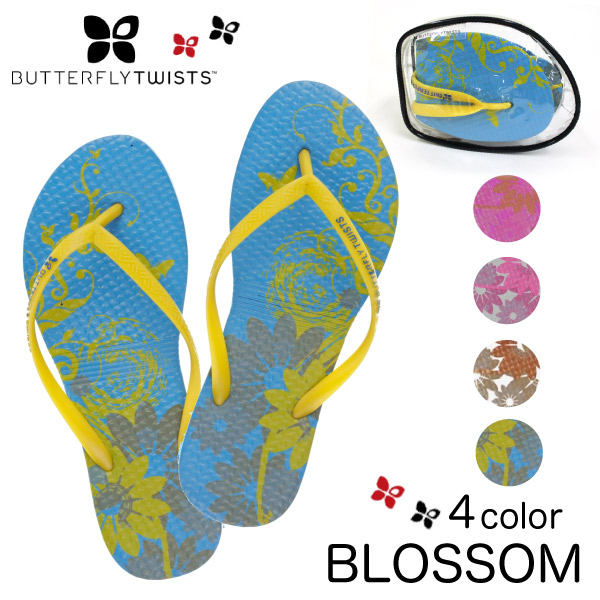 Butterfly twist Butterfly Twists folding pouch with flip flops sandal flat shoes BLOSSOM blossom ladies (BT4001)