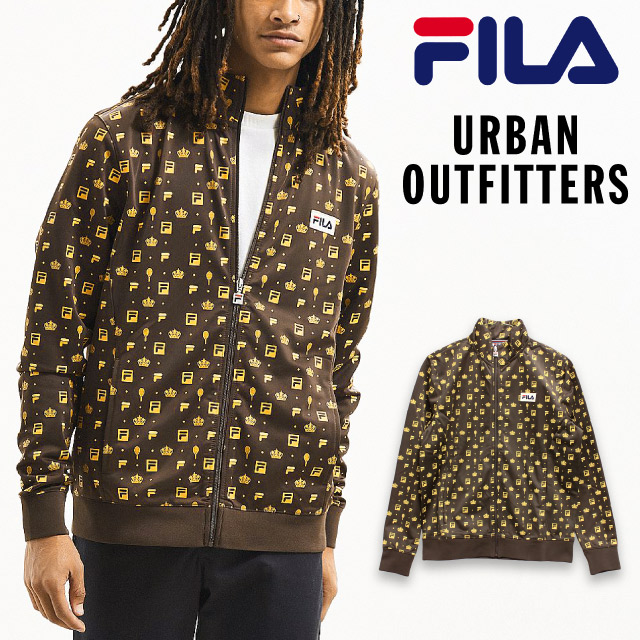Outer for the sale FILA x UO collaboration monogram truck jacket URBAN OUTFITTERS Fila Urban outfitters jersey zip parka jacket logo men man