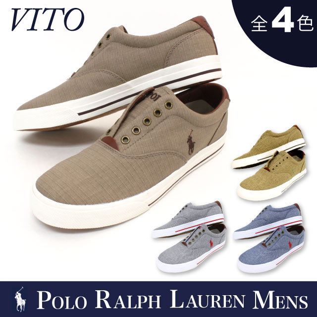 Polo Ralph Lauren mens POLO Ralph Lauren MENS pony embroidered low white  canvas slip-on sneakers deck shoes VITO-SK-VLC men (816505114)