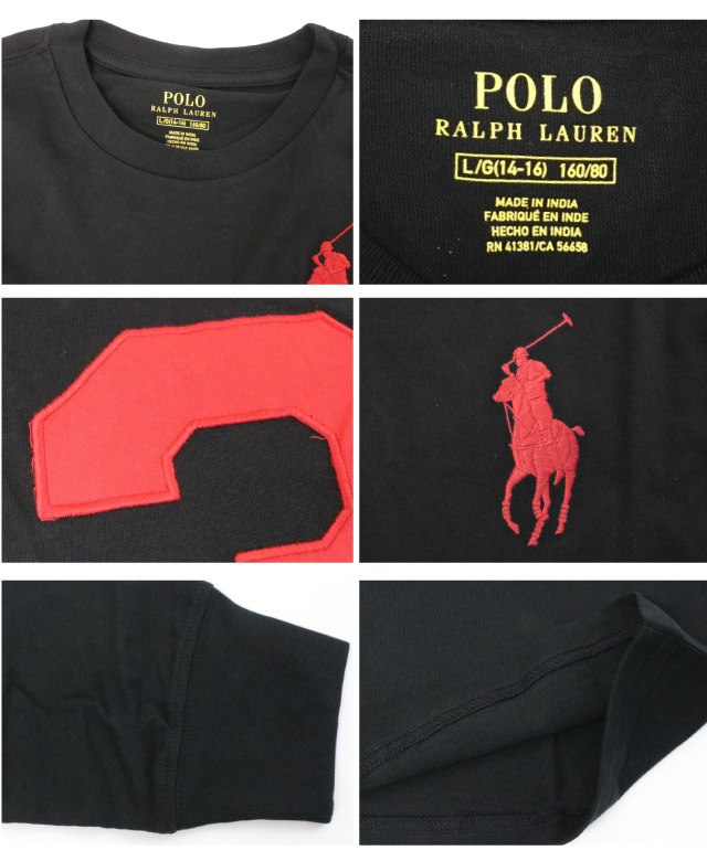 9f7a219b Polo Ralph Lauren Boys POLO Ralph Lauren BOYS big pony embroidery uniform  number 3 long sleeves T-shirt cotton tops round neck crew neck men man ...
