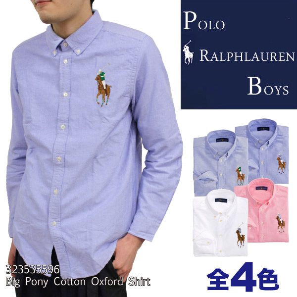 Polo Ralph Lauren boys POLO Ralph Lauren BOYS color big pony embroidery  Oxford long sleeve shirt mens Womens Unisex (323184141)