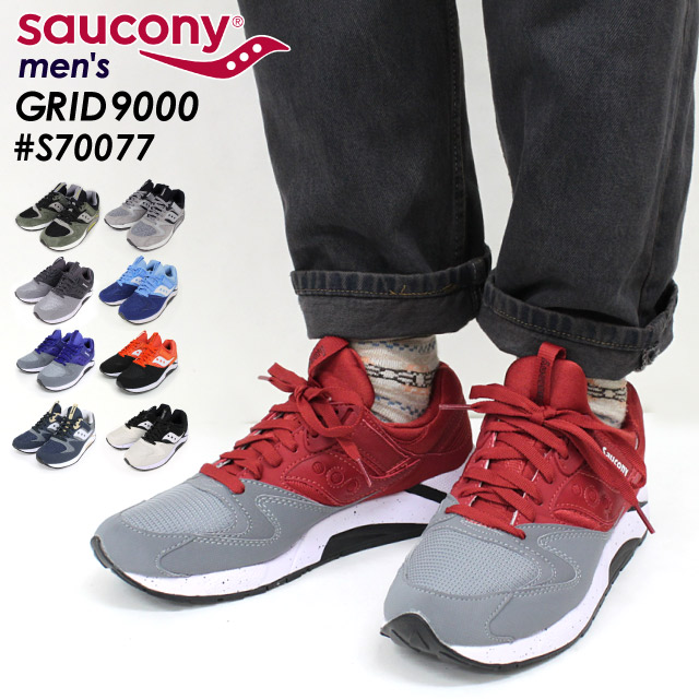 1bc1445e4247 サッカニー SAUCONY grid GRID 9000 sneakers running shoes sports shoes cushion  race up low-frequency cut men