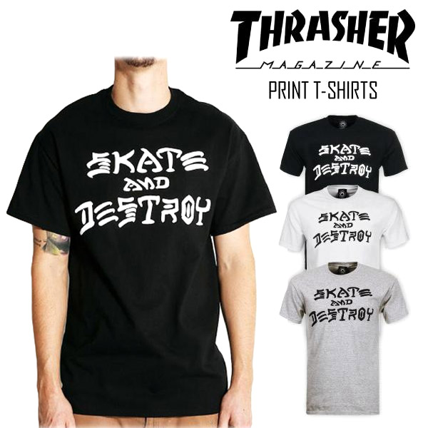 091edb2cc1db Thrasher THRASHER logo short sleeve T shirt skating and des Troy SKATE AND  DESTROY U neck ...