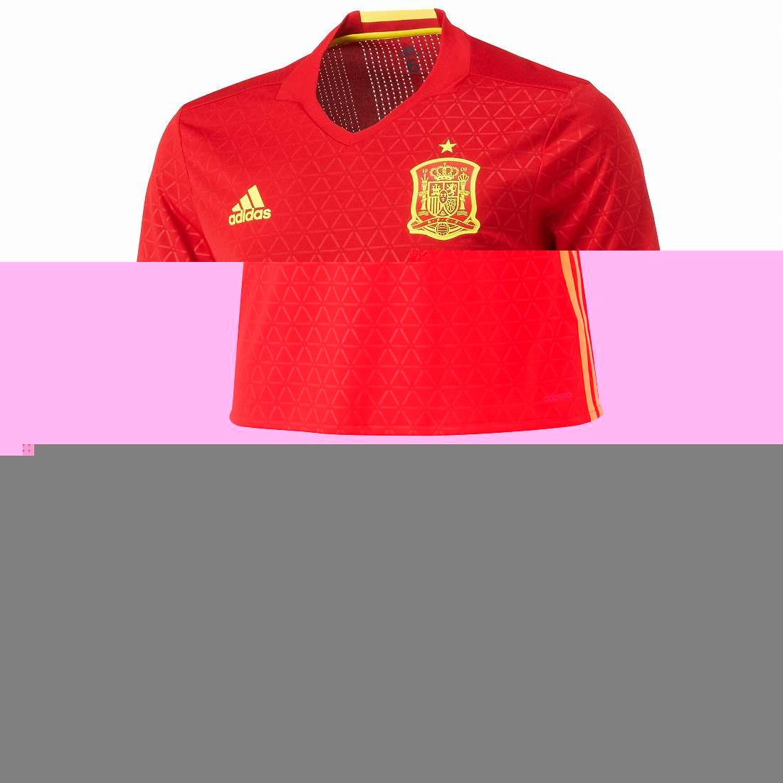 アディダス 2016 AA0854 AAO57 スペイン ホーム オーセンティック 半袖 ゲーム シャツ