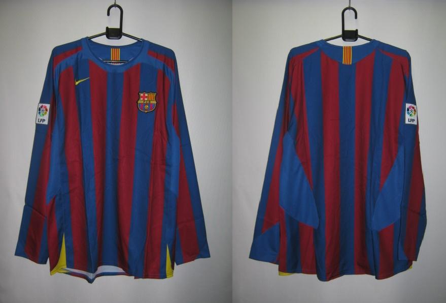 ナイキ NIKE-198123-425 2005-06 バルセロナ ホーム レプリカ ゲーム シャツ 長袖