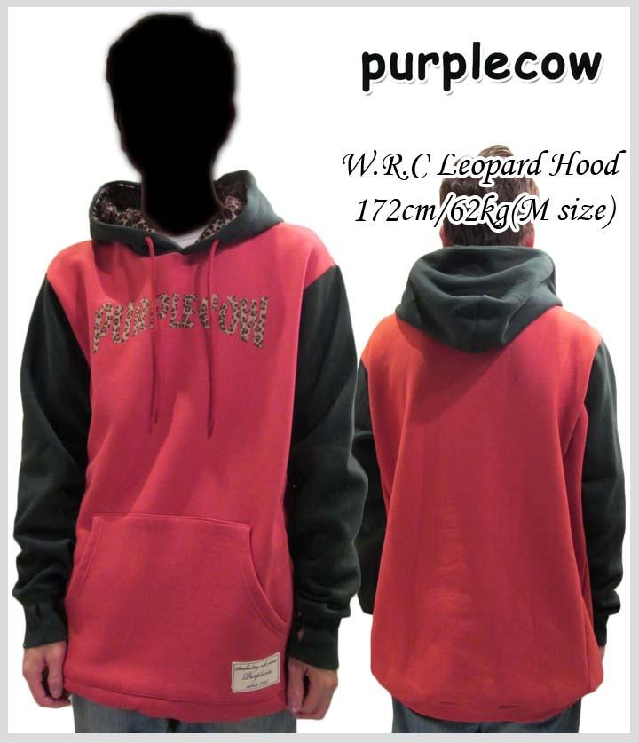 ≪送料無料≫PURPLE COW/パープルカウ W.R.C LEOPARD PULLOVER HOOD/プルオーバーパーカー 【ORANGE】【M】