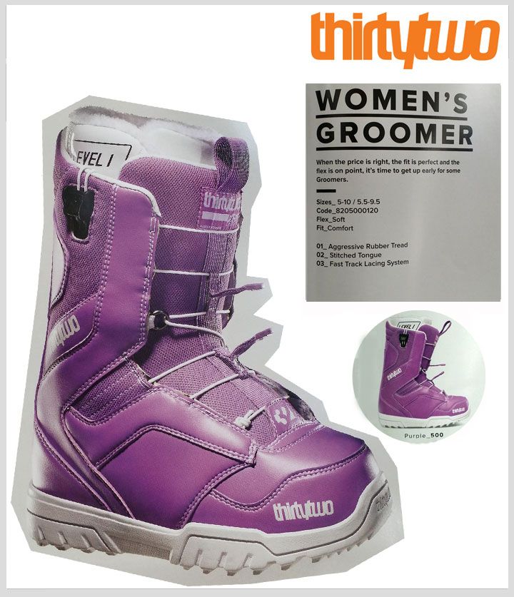 【30%OFF】【送料無料】14-15 SNOWBOARD WOMEN'S BOOTS【 THIRTYTWO 】【32】【WOMEN'S GROOMER】【PURPLE】【US6.5(23.5) 】【mi】