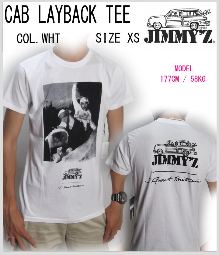 JIMMY'Z正規品 半袖Tシャツ☆サーフブランド☆ 20%OFF 期間限定特別価格 ≪一万円以上で送料無料≫ JIMMY'Z CAB LAYBACK u TEE JZT1081 期間限定の激安セール WHITE XS