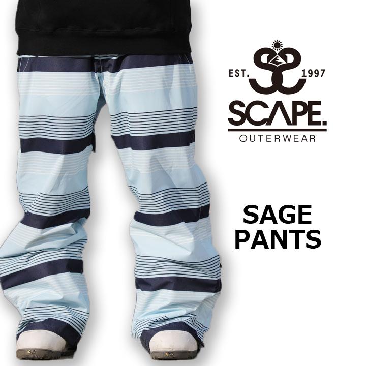 スノーボードウェア ウエアー 訳ありセール 格安 SNOWBOARD WEAR メンズ パンツ SCAPE 送料無料 新作製品、世界最高品質人気! SAGE 40%OFF エスケープ BOARDER セージパンツ PANT