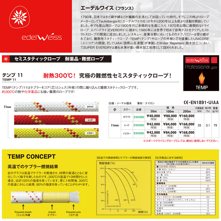 EDELWEISS エーデルワイス テンプ11mm×200m メーカー取り寄せ品 5%OFF 送料無料 レスキュー ロープ