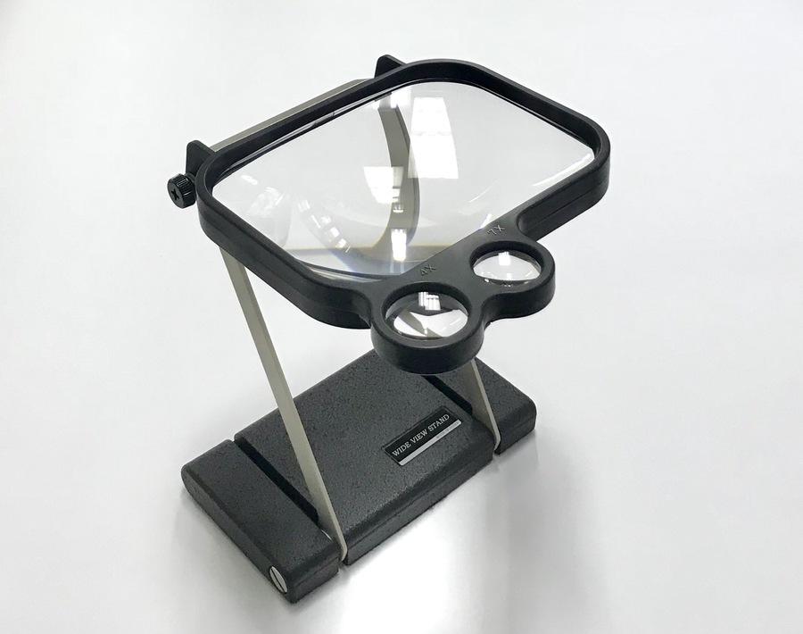 検品用スタンドルーペ1.8倍145x11mm4.0倍・7.0倍円形小窓ありガラス製