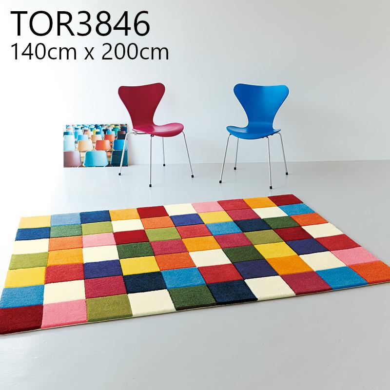東リ 【TOR3846】 140cmx200cm ラグ 防ダニ 抗菌防臭 ホットカーペットOK マット