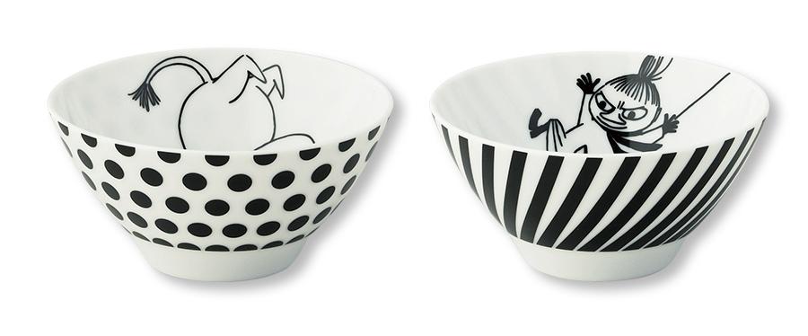 ムーミン(MOOMIN)茶碗(2個セット)陶器 北欧食器 かわいい リトルミイ モノトーン お茶碗 レンジ対応 プレゼント 日本製 食器セット セセラ