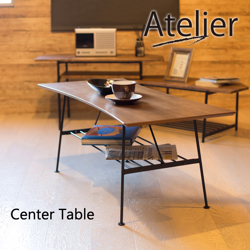 Atelier リビングテーブル ローテーブル コーヒーテーブル ナイトテーブル ダイニングテーブル 天然木 スチール ヴィンテージ スタイル 北欧 インダストリアル 西海岸 横幅100cm 横幅100×奥行45×高さ41cm