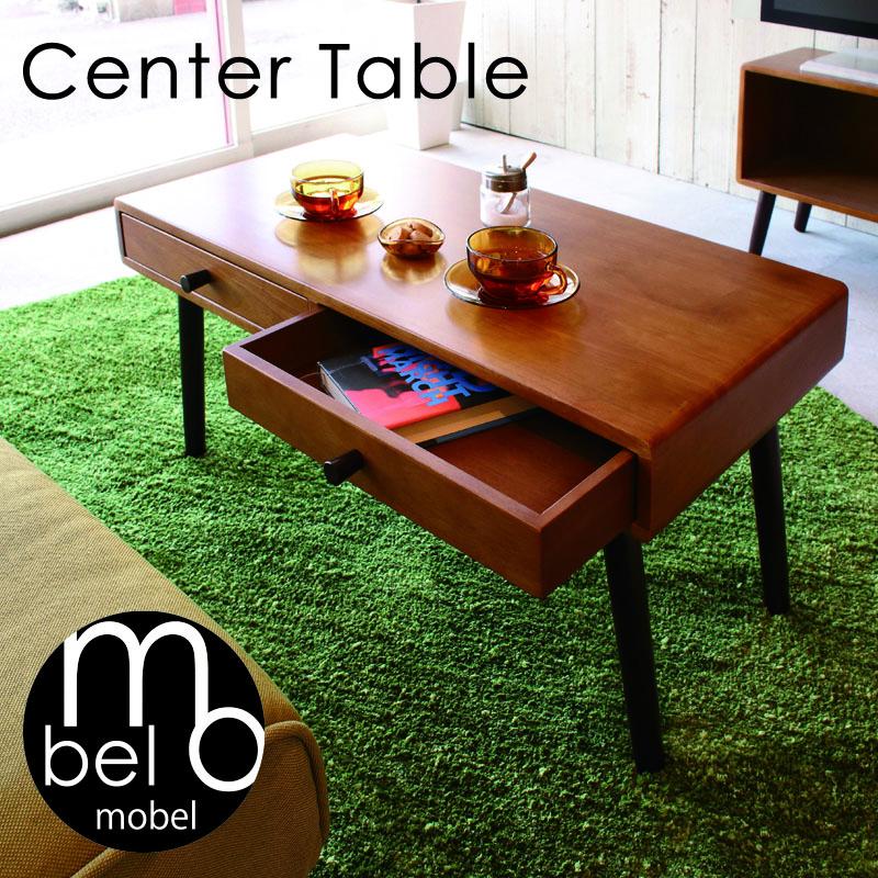 mobel メーベル センターテーブル リビングテーブル ローテーブル 収納付きテーブル 木製 ブラウン ナチュラル スリム 北欧 インテリア 一人暮らし W80×D40×H38cm ソファラボ テーブル 引き出し 木目