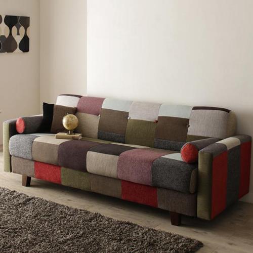 職人さんの手作りのぬくもり感じる パッチワークデザインソファベッド