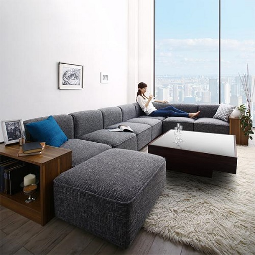 レイアウト自由自在 大型L字モダンデザイン ソファ&サイドテーブルセット