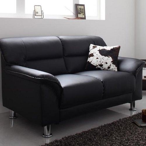 贅沢に高級感のあるブラック シンプルモダンカウチソファ 2人掛けタイプ
