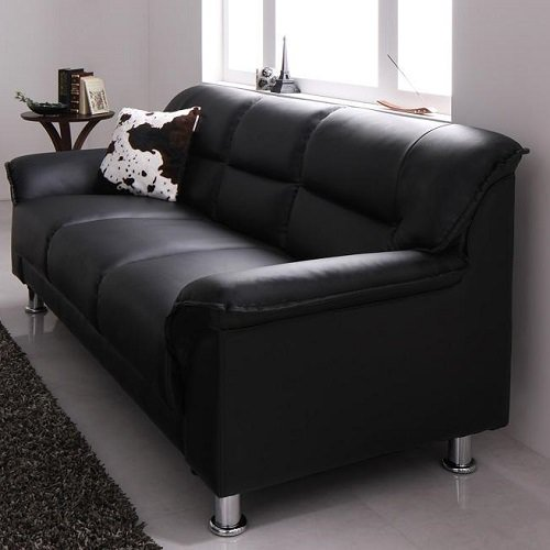 贅沢に高級感のあるブラック シンプルモダンカウチソファ 3人掛けタイプ