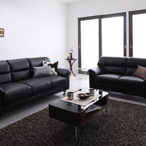贅沢に高級感のあるブラック シンプルモダンカウチソファセット(2人掛け+3人掛け)