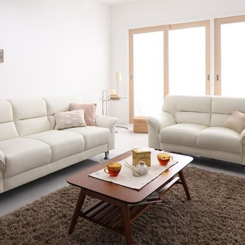 贅沢に気品のあるホワイト シンプルモダンカウチソファセット(2人掛け+3人掛け)