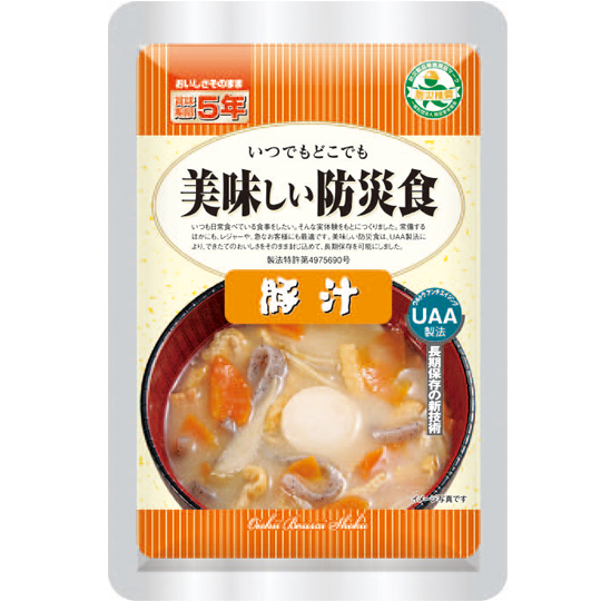 【送料無料】UAA食品 美味しい防災食【5年保存】 豚汁 180g 50袋/箱 アルファフーズ 防災食 非常食【bousai-anzen】