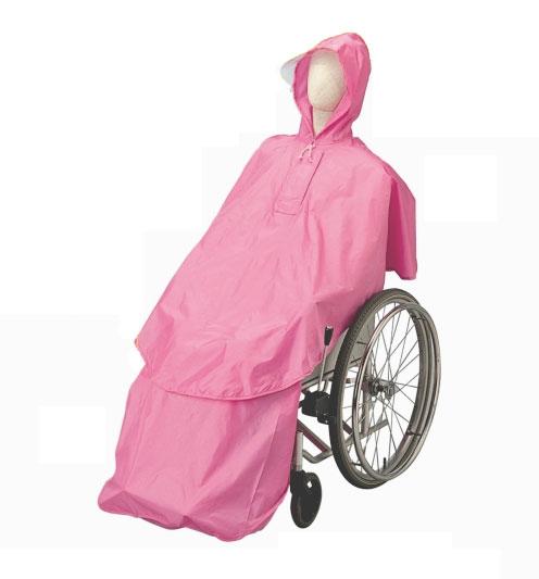 車いす用 レインコート ケアーレイン セパレートタイプ ピンク 雨衣 フリーサイズ