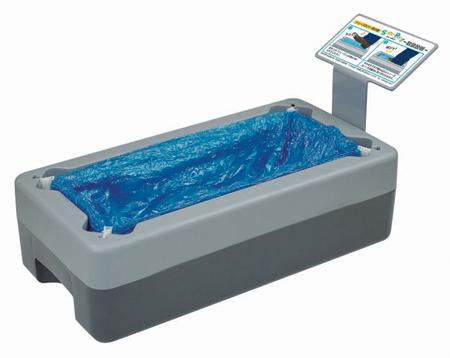 シューズカバー 取付器 シューポン + 専用シューズカバー 100枚 手を汚さず衛生的です。