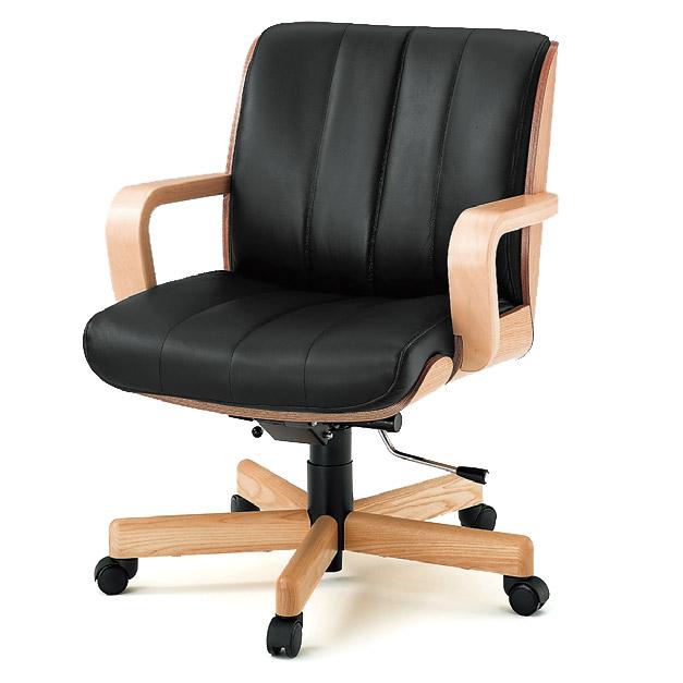 【オフィスチェア】 イトーキ R-1(ミドルバック/背裏突板貼りタイプ)皮革張り