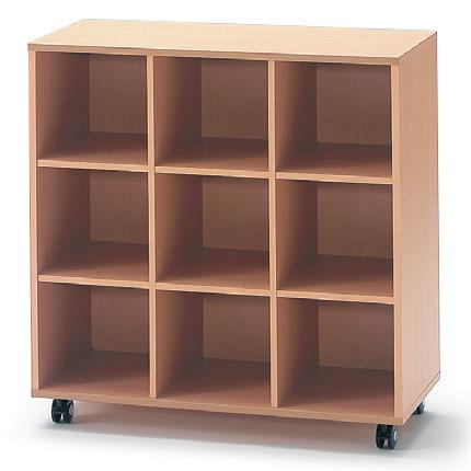 イトーキ 学校用木製収納/9ボックス キャスタータイプ【自社便/開梱・設置付】