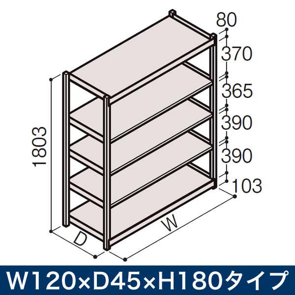 物流家具/イトーキ ボルトレス軽中量ラック RL型[単体]/開放型(200kg仕様) W120×D45×H180タイプ/棚板5段【自社便/開梱・設置付】