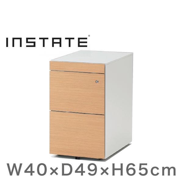インステート/ワゴン A4・2段ペントレイ付(木目柄スチール) D49(ショート)【自社便/開梱・設置付】
