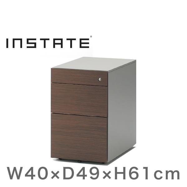インステート/ワゴン 3段(木目柄スチール) D49(ショート)/キャスターロック付【自社便/開梱・設置付】