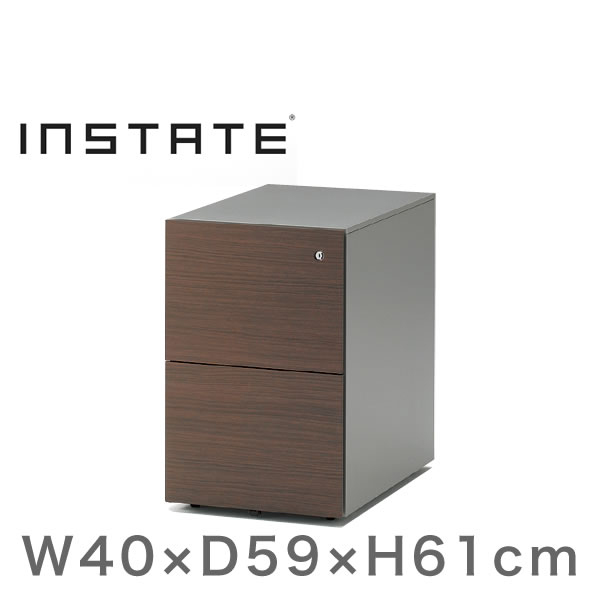 インステート/ワゴン 2段(木目柄スチール) D59/キャスターロック付【自社便/開梱・設置付】