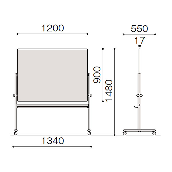 イトーキ 脚付き ホーロー 回転型ホワイトボード(ホワイト+スクリーン)ロータイプ/外寸:W134×H148cm/板面:W120×H90cm 【自社便/開梱・設置付】